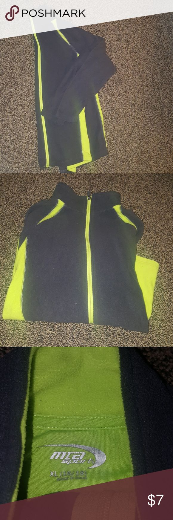 Lightweight zip up fleece Grey & neon yellow zip up fleece jacket.  Perfect for the upcoming fall weather!  EUC!  Size xl(16/18) mta pro Shirts & Tops Sweatshirts & Hoodies