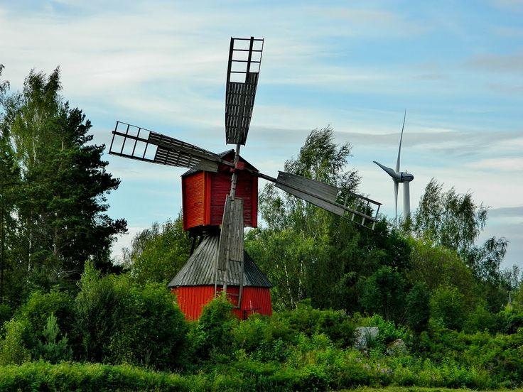 Windmill and wind turbine in Vaasa, Finland.