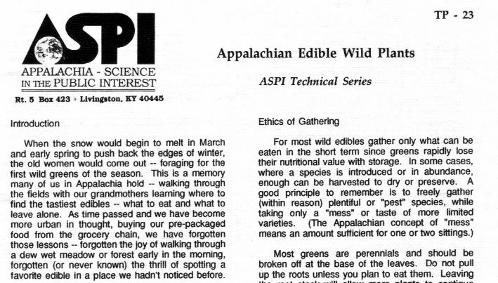 Appalachian Edible Wild Plants PDF