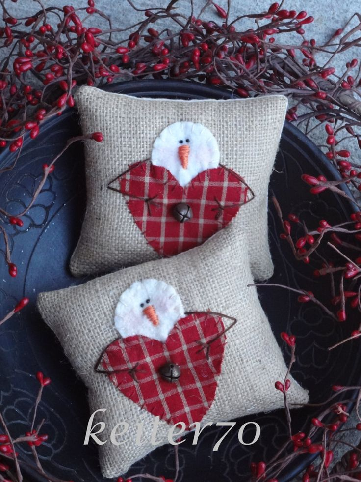 Two Primitive Christmas Pillows