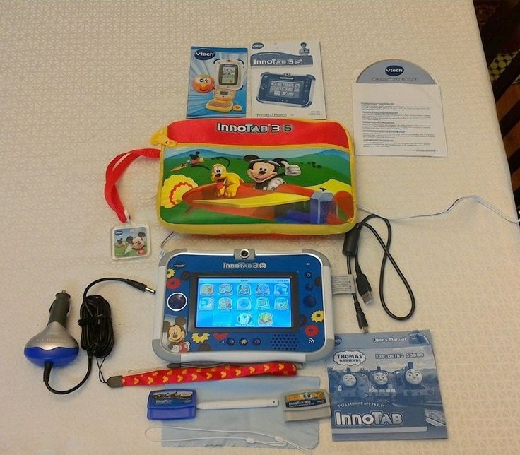 VTech InnoTab 3 S Blue Mickey Learning Tablet With 2 Games Thomas the Train Game #VTech