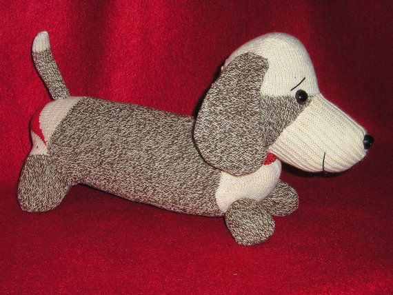 Dachshund Weiner Dog Sock Monkey Dolls Puppy by sockmonkeyangel, $45.00