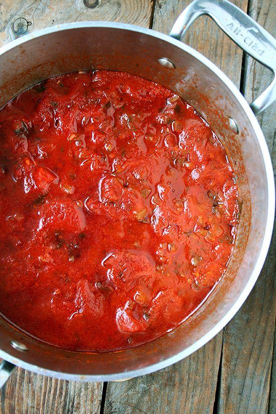 A Second Marcella Hazan Tomato Sauce + Hot Italian Sausage + Gragnano Pasta = Utter Deliciousness | alexandra's kitchen