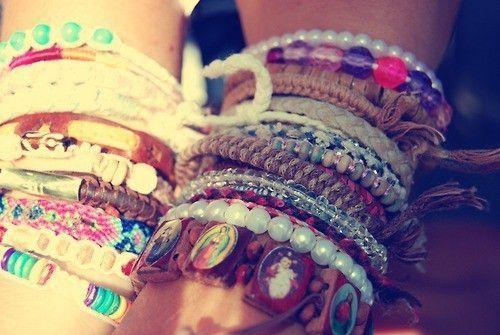 bohemian, boho, bracelets, hippie, pearls