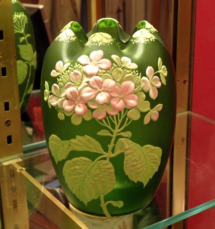 Period: 19th Century 		 				 			Description Antiquity 			 			GLASSWARE dE Pantin. TOUVIER, Stumpf & VIOLLET. VASE DECOR HYDRANGEAS.