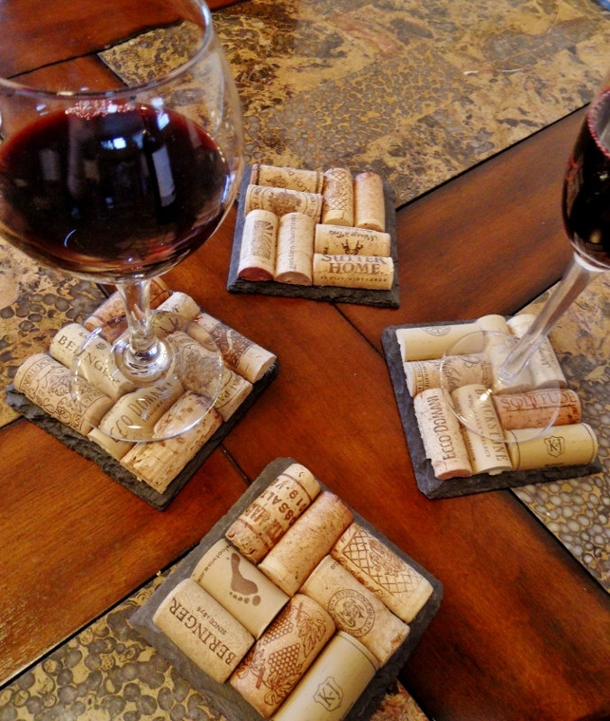 Slate Wine Cork Coasters Perfect for by ScatteredTreasures on Etsy, $25.00