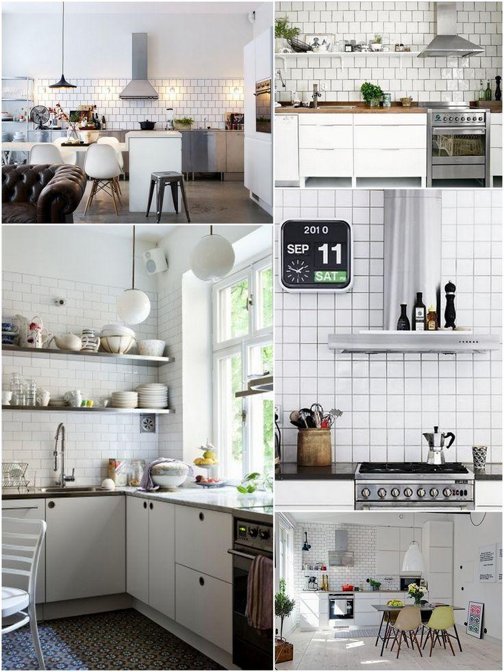 Det har dukket opp mange bilder av kjøkken med hvite fliser og mørk fugemasse på nettet i det siste. Jo flere bilder jeg ser, jo mer liker jeg det. Her er litt inspirasjon: kilder: 1, 2, 3, 4, 5