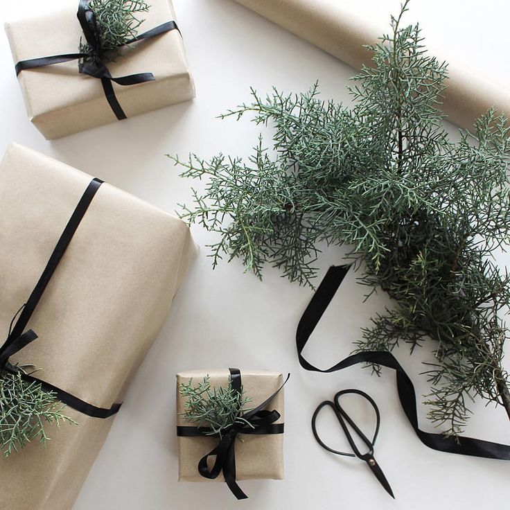 """561 Likes, 11 Comments - Michelle Halford (@thedesignchaser) on Instagram: """"Simple wrapping reusing all the black ribbon I hoard during the year 🖤"""""""