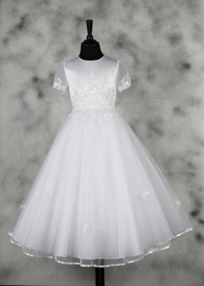 First Holy Communion Dress - White Traditional Full Length with Illusion Princess Sleeves - Harriet - New 2015 - Isabella Collection - 83GO3329 -