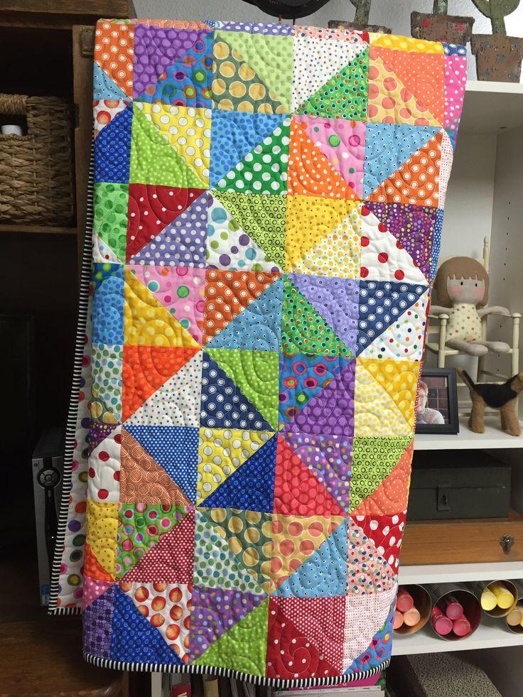 Ellie's polka dot quilt. April 2016