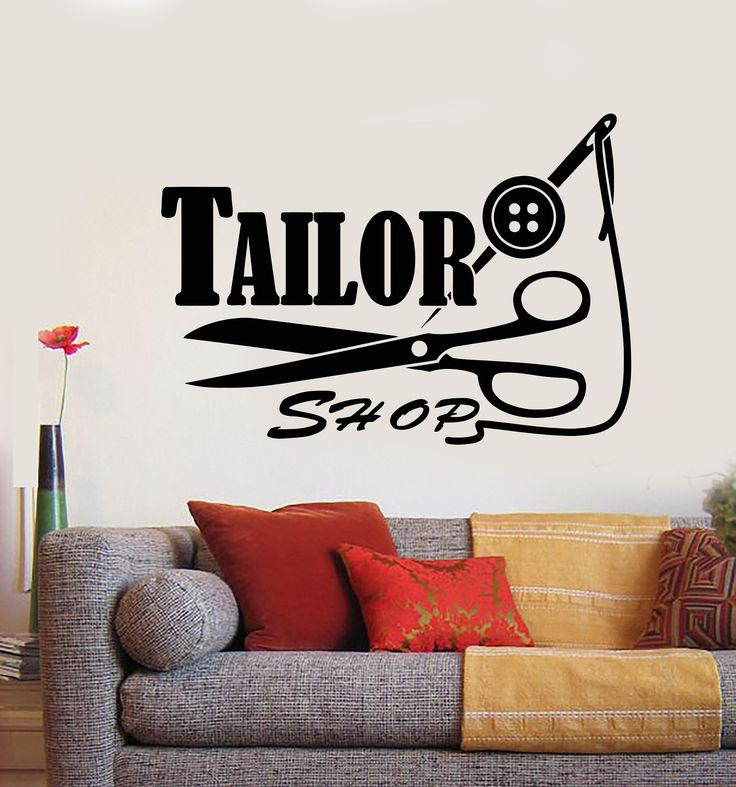 vinyl wall decal seamstress tailor shop logo threads on wall logo decal id=72079