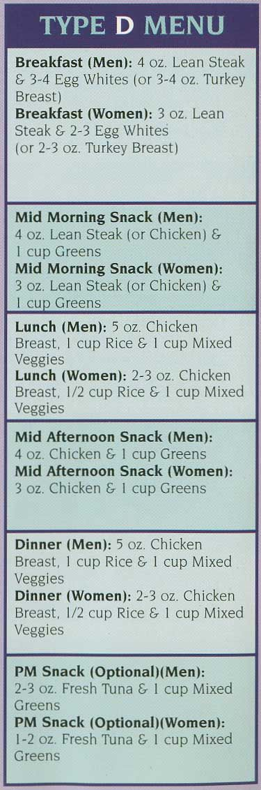 Image result for 6 week body makeover type a meal plan