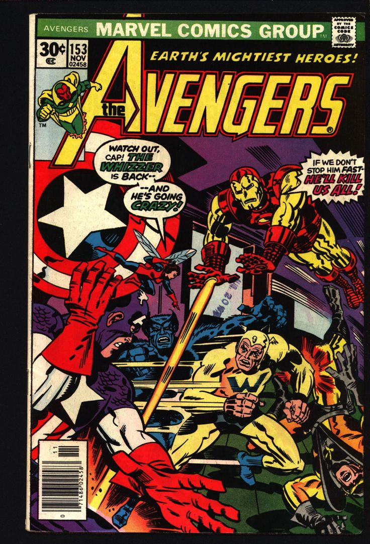 AVENGERS #153 George Perez Iron Man Captain America Scarlet Witch Vision Beast Yellow Jacket Wasp Vs Living Laser