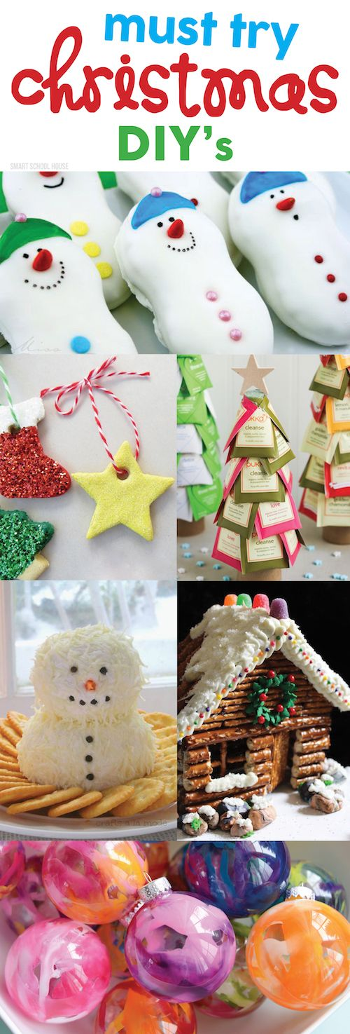 From sweet treats to cheery holiday crafts, these are the BEST Must Try Christmas DIYs ! You will love these neat ideas (and be sure to show your kids too!). | Smart School House