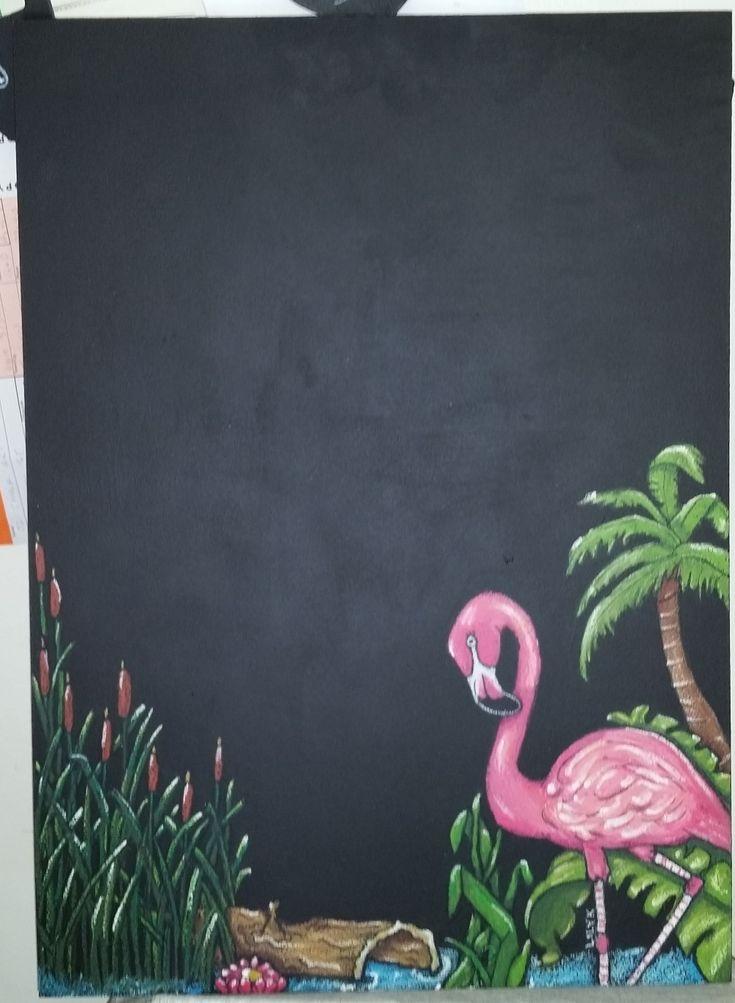 """Hanging Message Blackboard with Flamingo Wetlands Scene"""" artwork"""