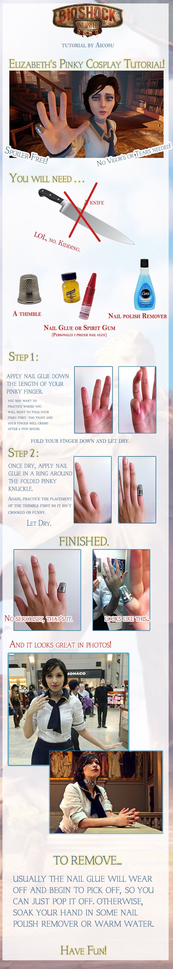 Bioshock Cosplay - Elizabeths Pinky Tutorial by *Aicosu on deviantART ---To complete the look