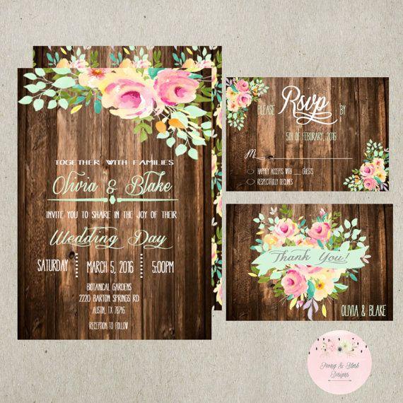 Rustic Wedding Invitation Printable Suite by PeonyBlushDesigns