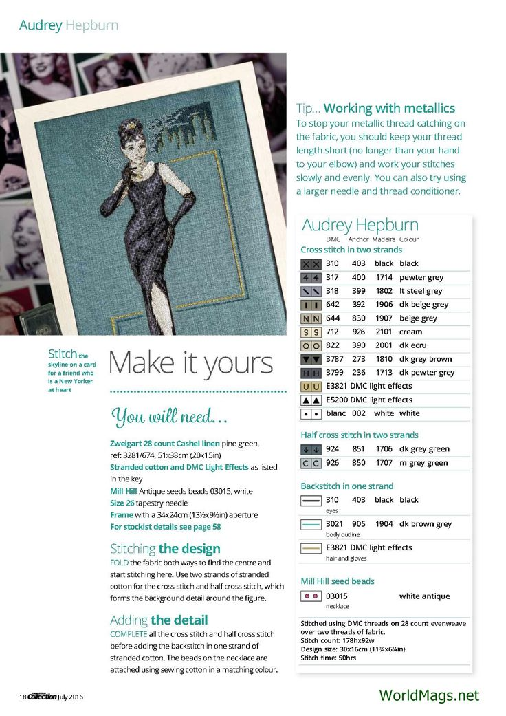 Audrey Hepburn From Cross Stitch Collection N°264 July 2016 5 of 5