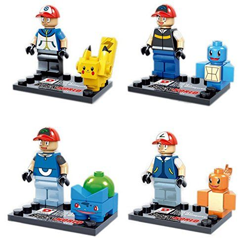 DESO® 4pcs/Set POKEMON lego pokemon Block Pokemon Pikachu Squirtle Bulbasaur Eevee Bulbasaur Charizard Gengar Mewtwo Parent-child Games Building Blocks Children's Educational Toys