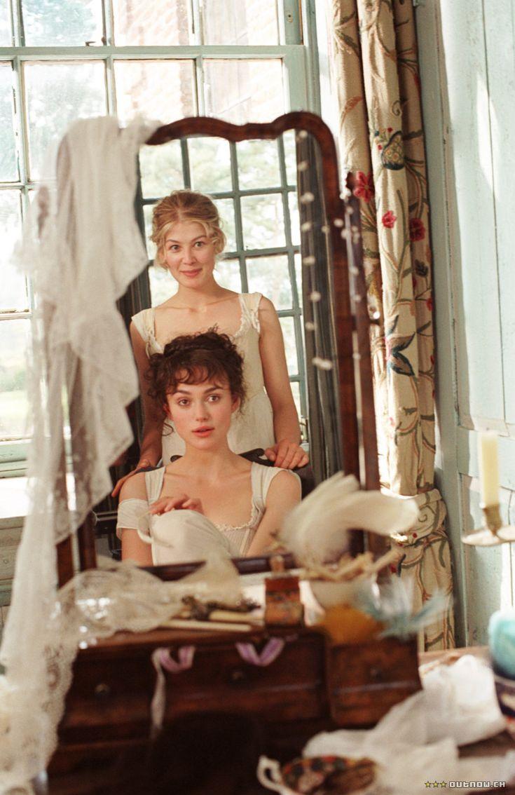 Rosamund Pike (Jane Bennet) & Keira Knightley (Elizabeth Bennet) -Pride and Prejudice (2005) directed by Joe Wright #janeausten