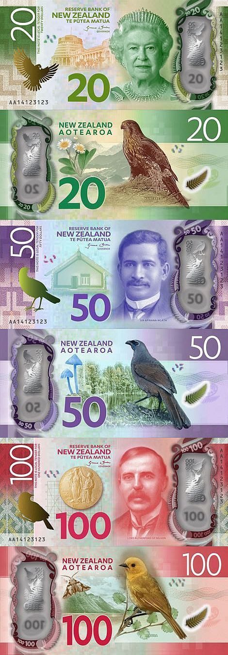 New Zealand new 20, 50, and 100 Dollar notes introduced 16.05.2016
