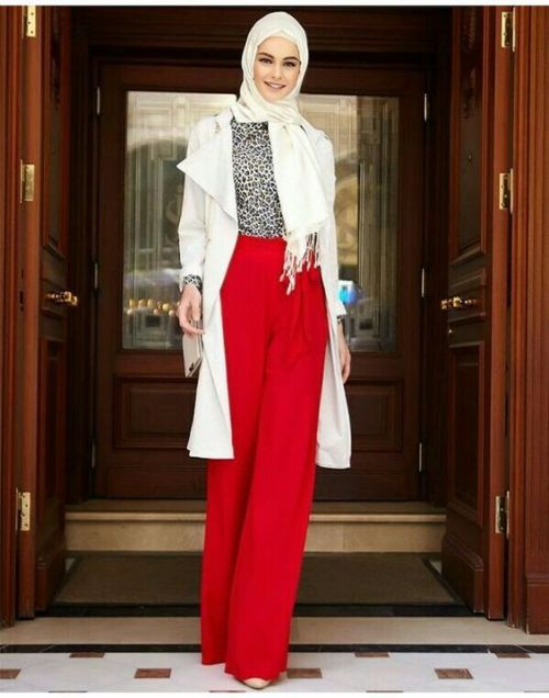 Red palazzo pants with hijab-How to renew your style with hijab – Just Trendy Girls
