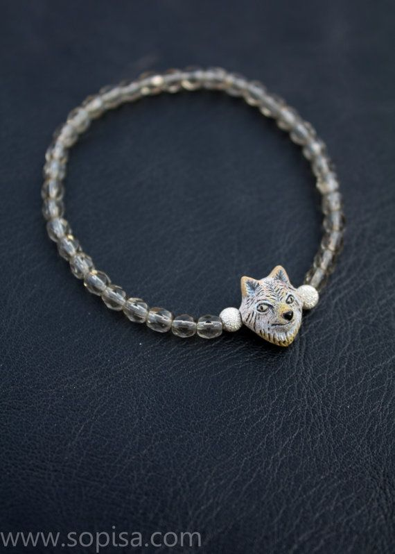 Bracelet with czech beads sterling silver and a by SopisaJewelry