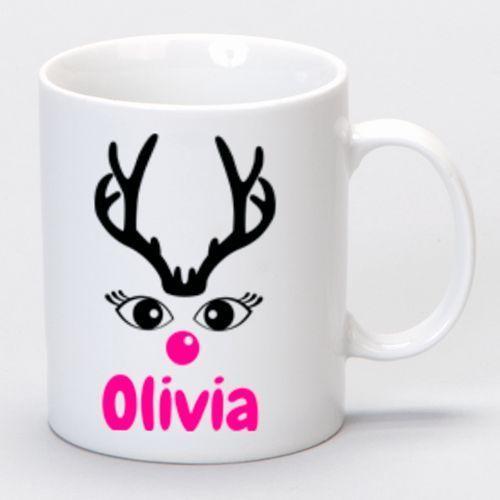 Lady Reindeer Mug Customised With Name Christmas Gift Boxed Personalised Present