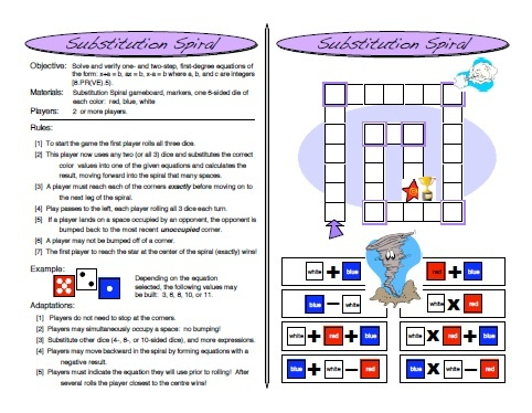 http://www.teacherspayteachers.com/Product/Substitution-Spiral-One-and-Two-Step-Equation-Game-Algebra-Games   Substitution Spiral: One and Two Step Equation Game ( #Algebra Games )  For a limited time (3 Days) I will be giving it away for FREE, and after that it will only be 3 dollars. #math #coolmath #mathgames #equations