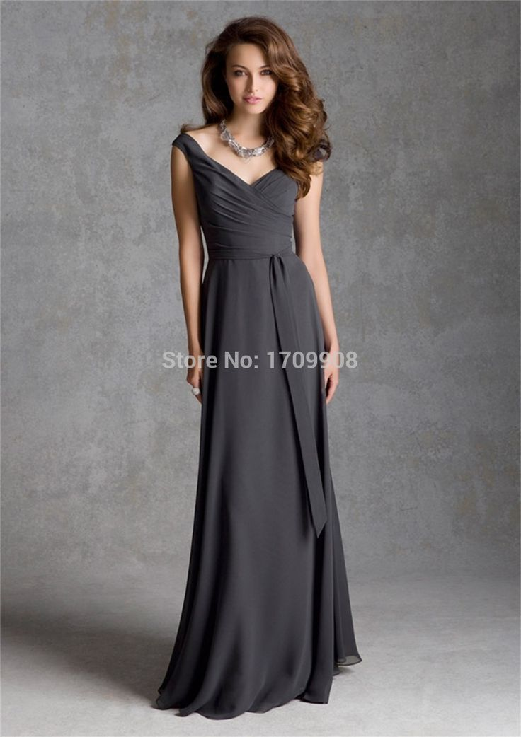 abito lungo grigio | Nuovo arrivo elegante lungo grigio abito da damigella d'onore per ...