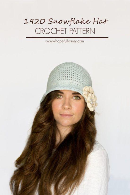 1920\'s Cloche Hat - Free Crochet Pattern | Mütze, Häkeln und Hüte