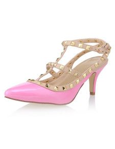 Sandals Sweet Pink PU Leather T-Strap Studded Spike Heel Dress Sandals For Woman