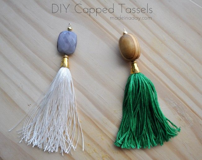 DIY Capped Tassels, make a tassel using a cone cap and eye pins for Buddha Beaded Necklace, pillow tassel, lamp tassel pull, fan pull, tassel necklace, easy