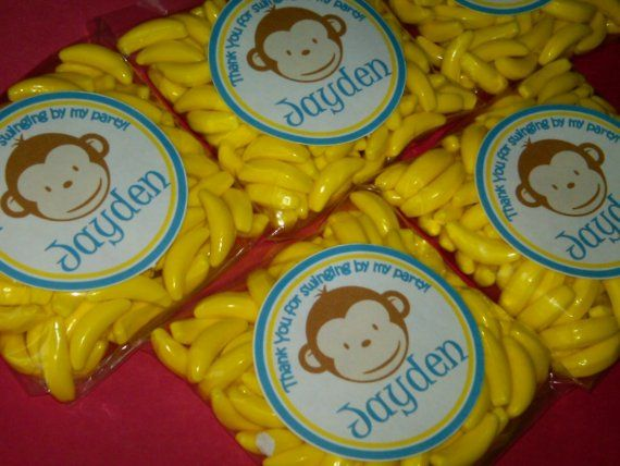 Personalized Mod Monkey Party Favor - 15 - 2OZ Packs of Banana Runts with custom birthday sticker