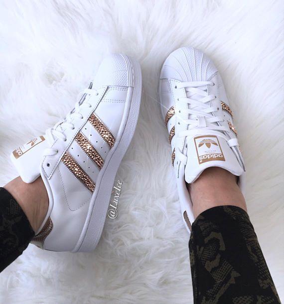 Adidas Originals Superstar White Rose Gold With Swarovski Sapato Adidas Feminino Sapatos Adidas Tenis Feminino Tumblr