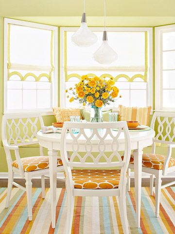 love how bright and happy it is: Dining Rooms, Breakfast Rooms, Breakfast Nooks, Color, Chairs, Mixed Patterns, Design Kitchens, Bays Window, White Kitchens