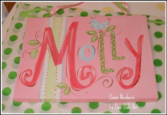 custom wall art, name canvas, name sign, name plaque, hand painted, personalized name painting