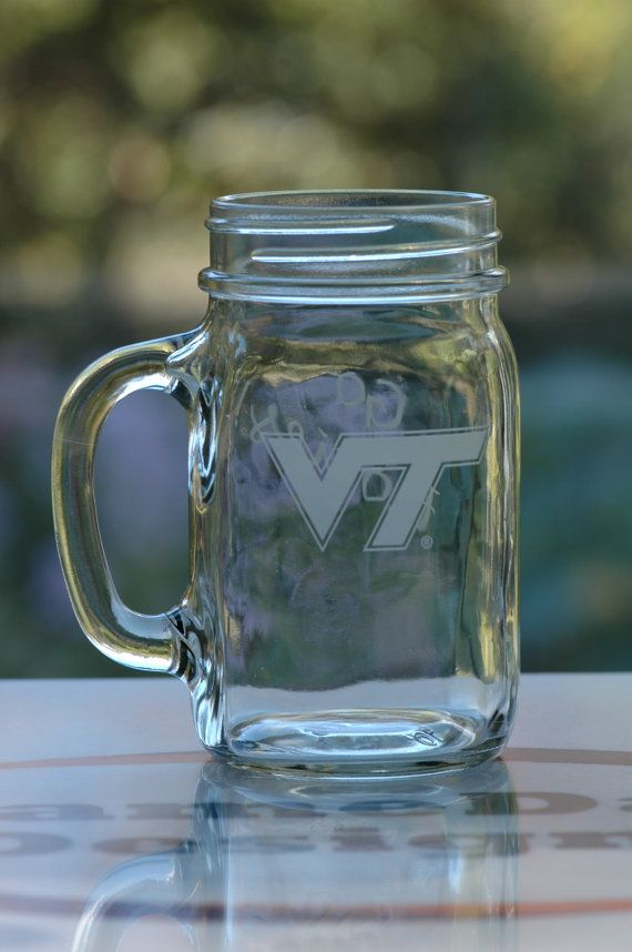 VT 16oz Mason Drinking Jar by GameDayDesigns1 on Etsy, $13.00