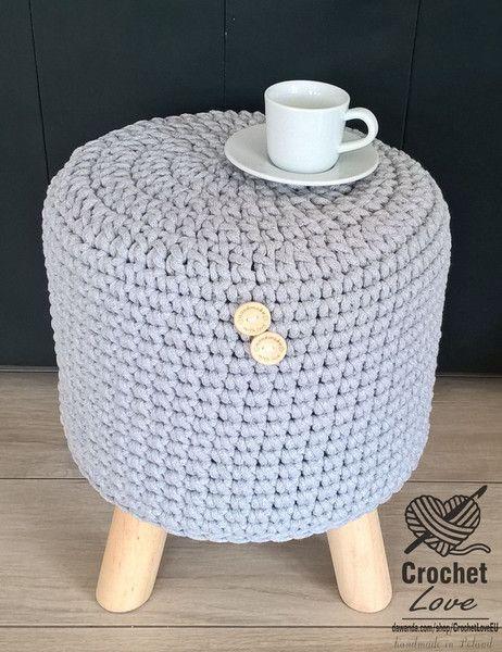 almofadas de assento - PUFA stołek ze sznurka NA DREWNIANYCH NÓŻKACH - um produto único de CrochetLoveEU DaWanda