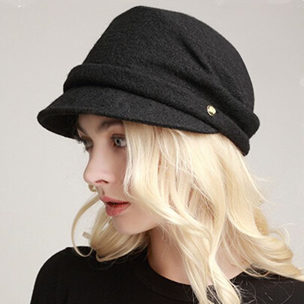 Fashion womens newsboy cap for winter warm wool hats