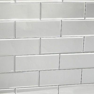 22 Tiles Bevelled Brick Silver mirror wall tiles for Kitchen Bathroom Room UK