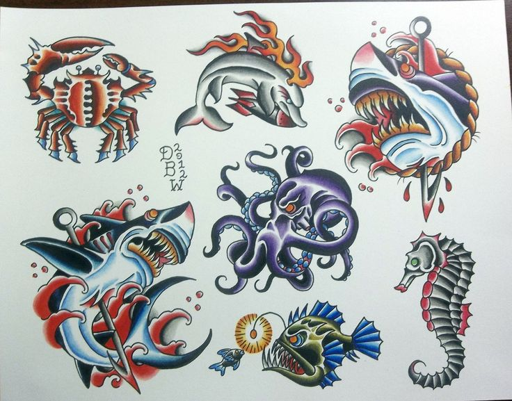 Traditional Nautical Tattoo Flash Sheet