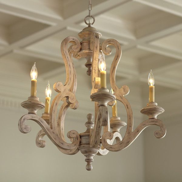 Brighton Metal Chandelier | Understated yet elegant, this five-light metal chandelier features a distressed antique white finish. 5-60W candelabra bulbs.