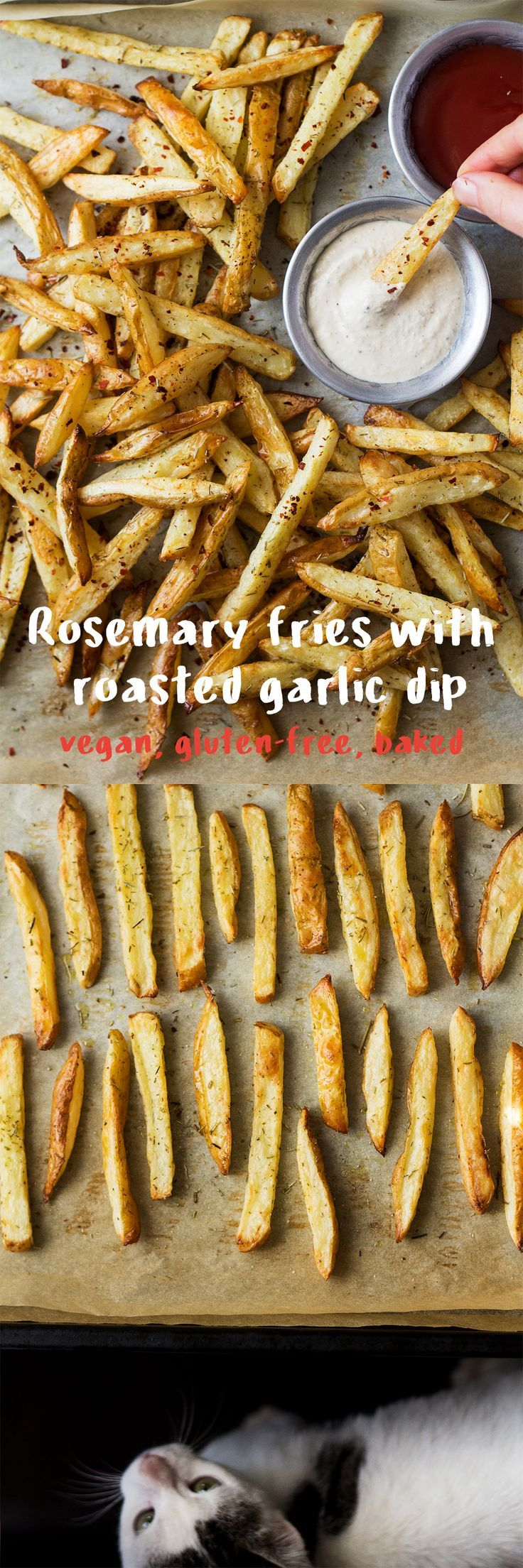 These #baked #rosemary #fries with a #dairyfree #garlic #dip make a delicious #snack or a #sidedish. #Easy to make, naturally #vegan and #glutenfree. #recipe #recipes #chips #frenchfries #ovenfries #vegetarian #healthy