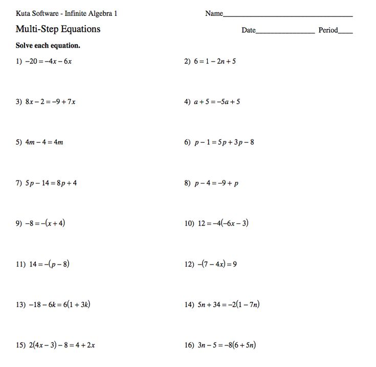 Printables Multi Step Equation Worksheet algebra solving multi step equations worksheets