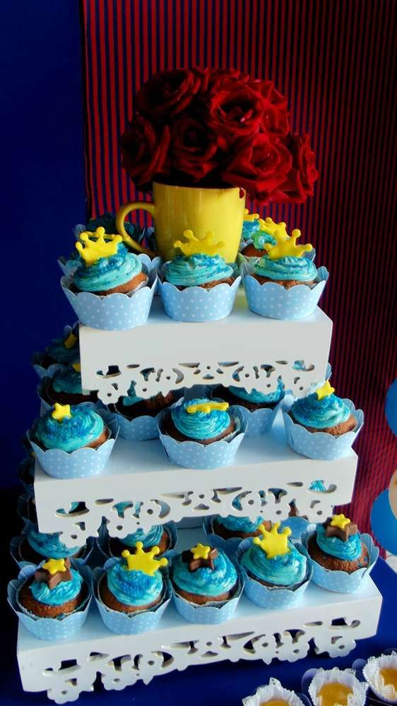 Crown topped cupcakes at a Little Prince birthday party! See more party planning ideas at CatchMyParty.com!
