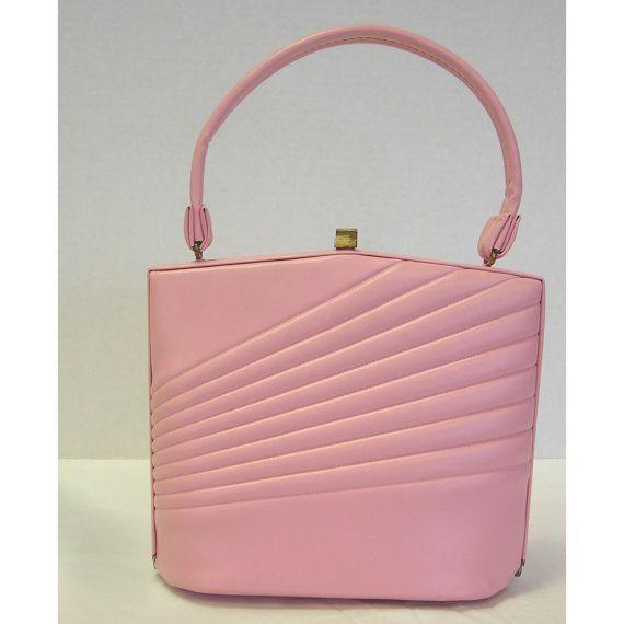Vintage 1960s Bubble Gum Pink Vinyl Purse Handbag by atomickatz, $38.00