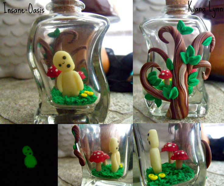 Princess Mononoke inspired Kodama in a bottle. Everything except the bottle and cork is made from polymer clay.