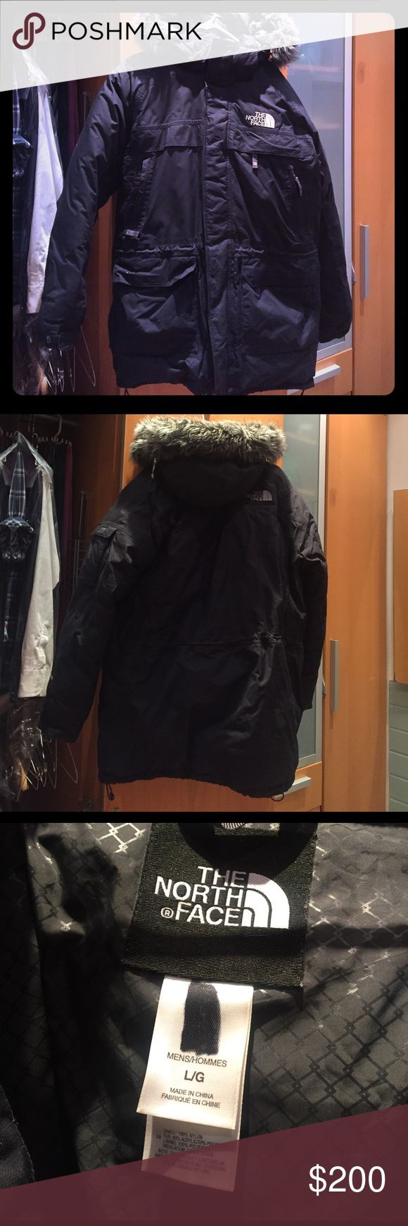 The North Face Down Parka Jacket - Hyvent - Black For sale is The North Face Parka - Hyvent 550 - in black. Features 550-fill down and fully waterproof. Condition is lightly used as it is simply too warm of a jacket. Comes with hood/fur attachment. All zippers are in a good & working order. The black spot on the tag is a simple sharpie mark where my last name was written. Features three outer upper chest and 4 outer lower stomach pockets. There are also 4 inner pockets for cell phone…