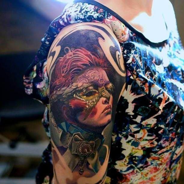 Arm Tattoo Portrait Of Woman With Mask #Tattoo, #Tattooed